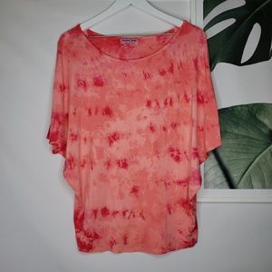 Michael Stars Doleman Boat Neck Shirt Tie Dye Pink